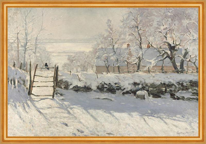 Die Elster von Claude Monet auf Leinwand gerahmt