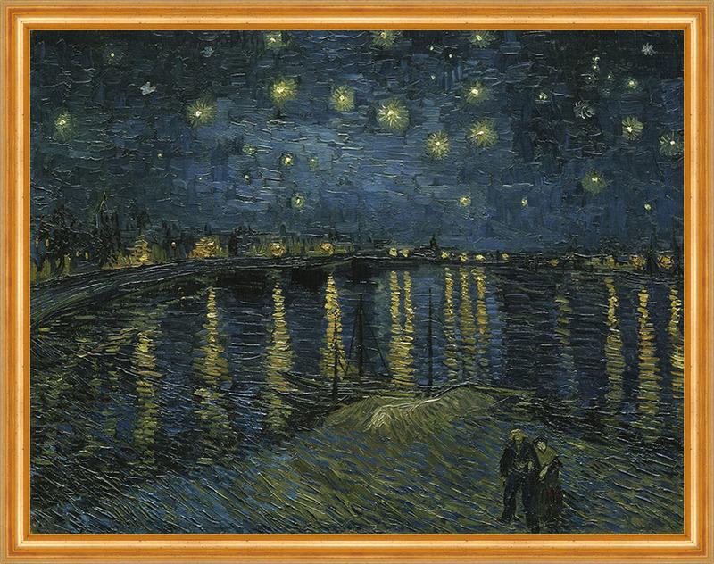 Sternennacht über der Rhone von Vincent van Gogh auf Leinwand gerahmt
