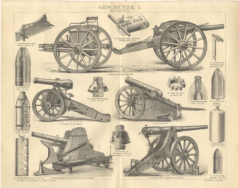 Geschütze Feldgeschütz Granaten Kanonen Mörser Zünder Krupp Brockhaus 2141