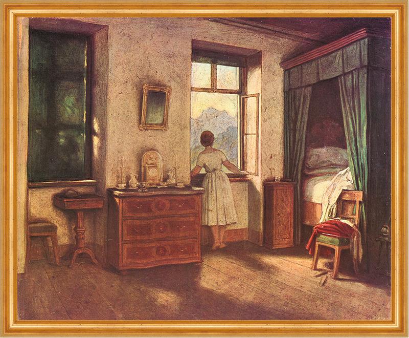 morgenstunde moritz von schwind schlafzimmer stube berge. Black Bedroom Furniture Sets. Home Design Ideas
