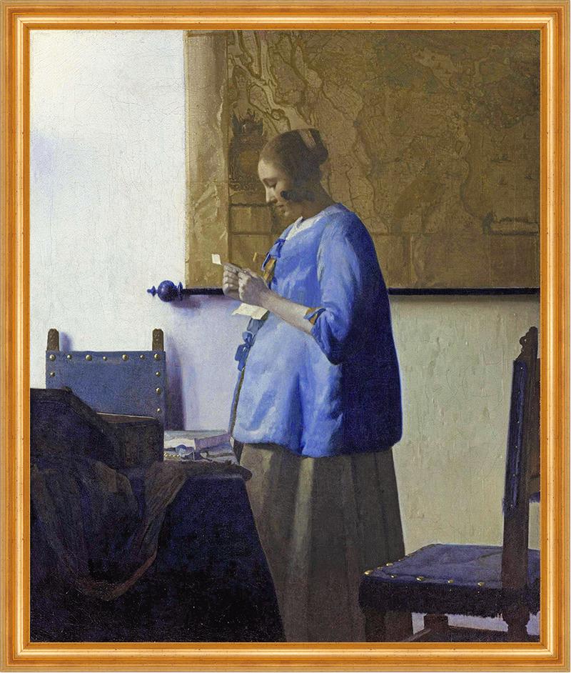 briefleserin in blau vermeer schwanger frisur liebe geheimnis lw h a2 0285 billerantik. Black Bedroom Furniture Sets. Home Design Ideas