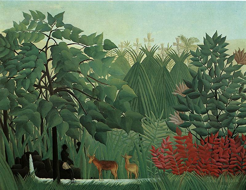 Der kleine wasserfall henri rousseau wald dschungel urwald for Dschungel malen