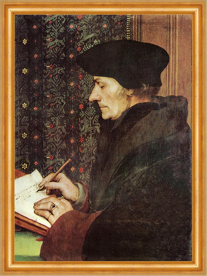 Bildnis des Erasmus Hans Holbein Gelehrter Teppich Porträt