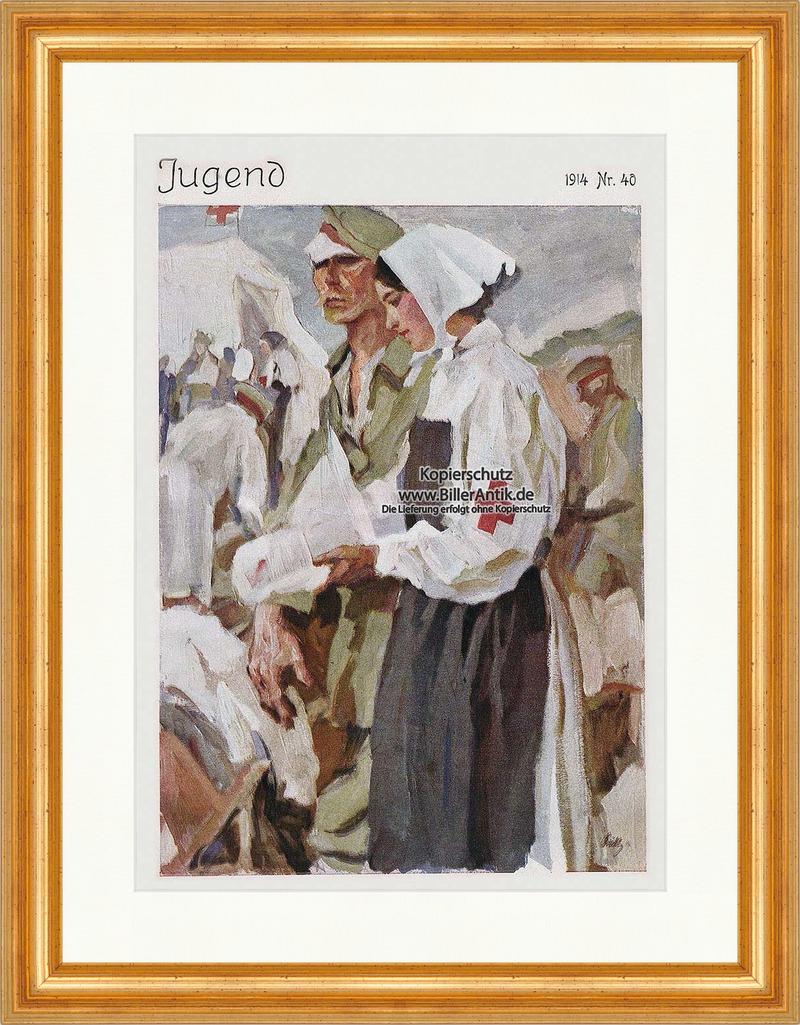 Titelseite-der-Nummer-40-von-1914-Paul-Rieth-Das-rote-Kreuz-Hirth-Jugend-3975