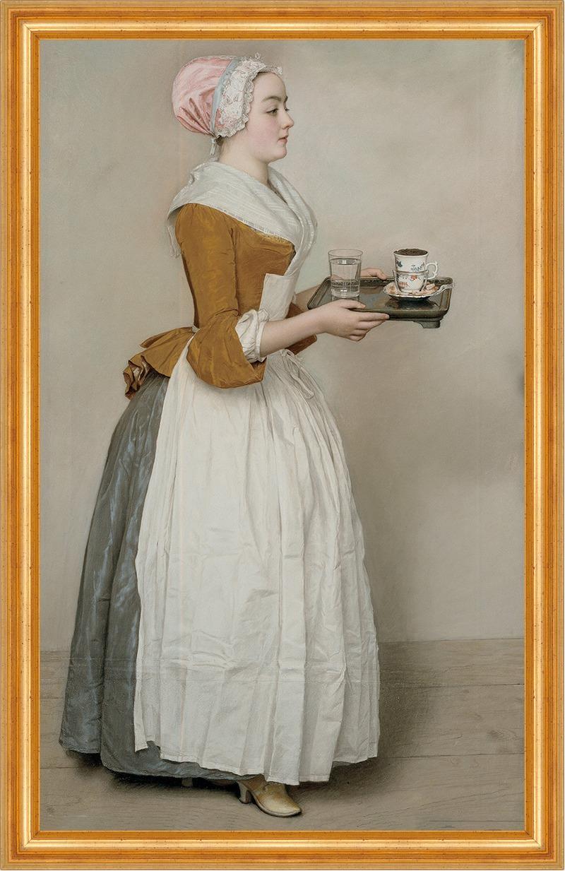 Das Schokoladenm�dchen von Jean-Etienne Liotard auf Leinwand im Rahmen