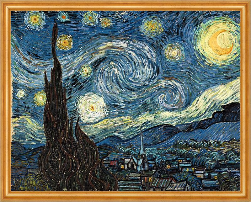 die sternennacht zypressen dorf the starry night lw vincent van gogh a2 031 billerantik. Black Bedroom Furniture Sets. Home Design Ideas