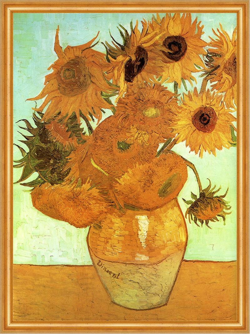 Zw�lf Sonnenblumen in einer Vase von Vincent van Gogh auf Leinwand im Rahmen