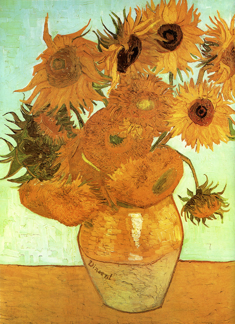 zw lf sonnenblumen in einer vase stillleben b tten vincent van gogh a3 072 billerantik. Black Bedroom Furniture Sets. Home Design Ideas
