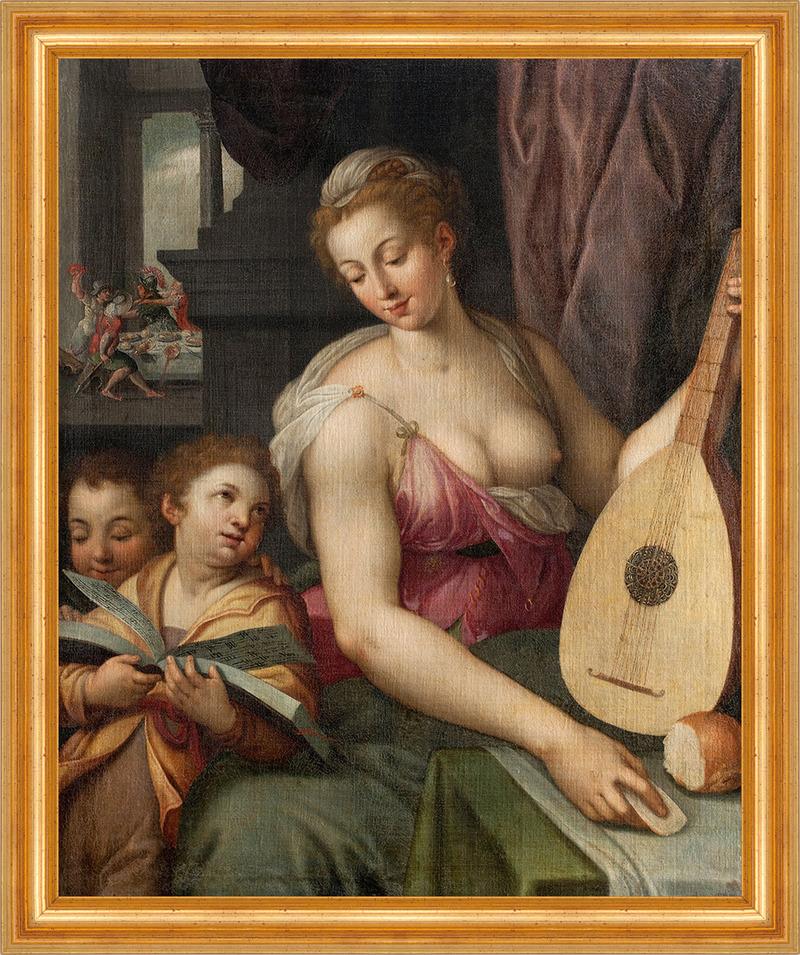 allegory of music frans floris kinder kampf nackt laute singen mutter b a3 01876 ebay. Black Bedroom Furniture Sets. Home Design Ideas