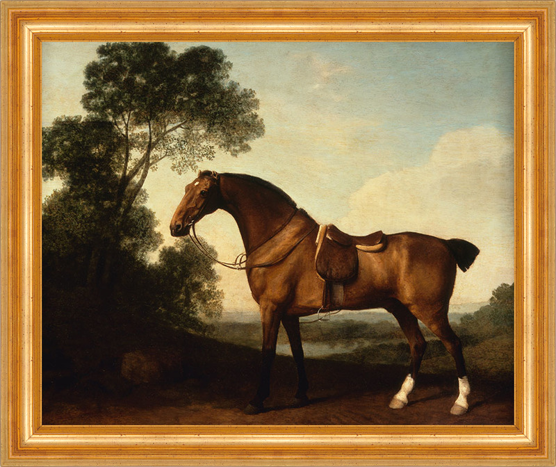 A Saddled Bay Hunter George Stubbs Pferde Sattel Weide Zaumzeug B A3 ...