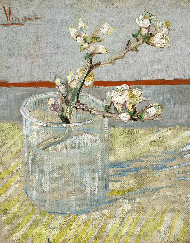 Sprig of flowering almond in a glass Vincent van Gogh Mandel Zweig B ...