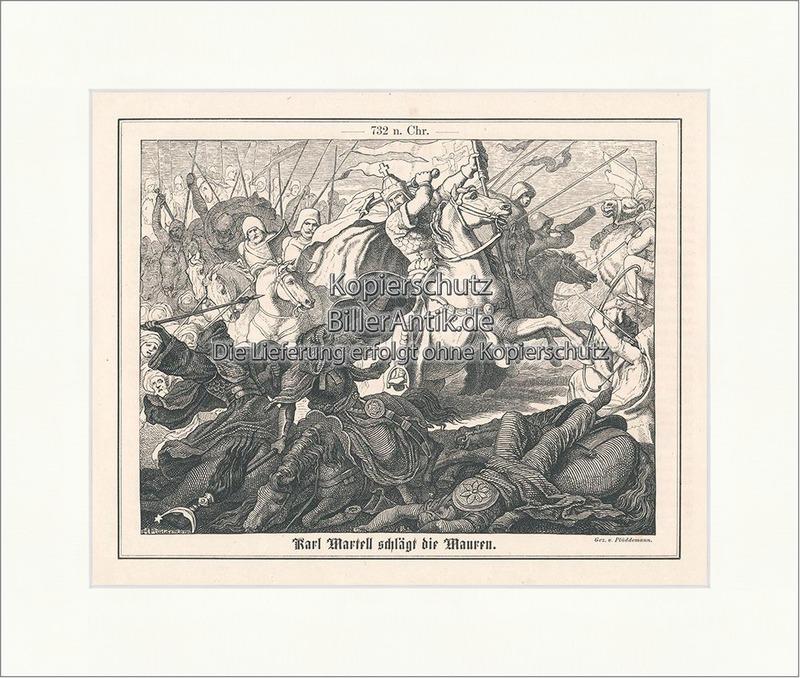 Karl Martell schlägt die Mauren. Hausmeier Majordomus Deutsche ...
