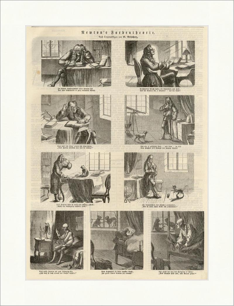 Newtons Farbentherorie Holzstich Farbenlehre Farbenkreis Forschung E 0045 Art Prints