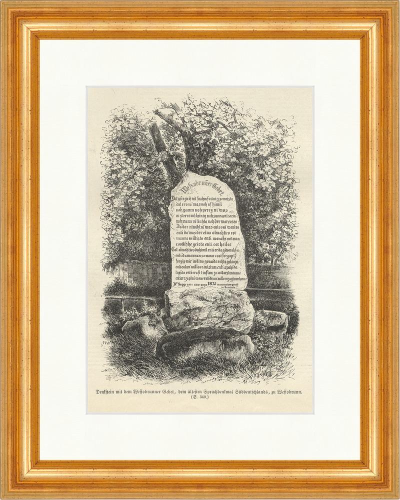 Denkstein mit dem Wessobrunner Gebet Sprachdenkmal Glaube Holzstich ...