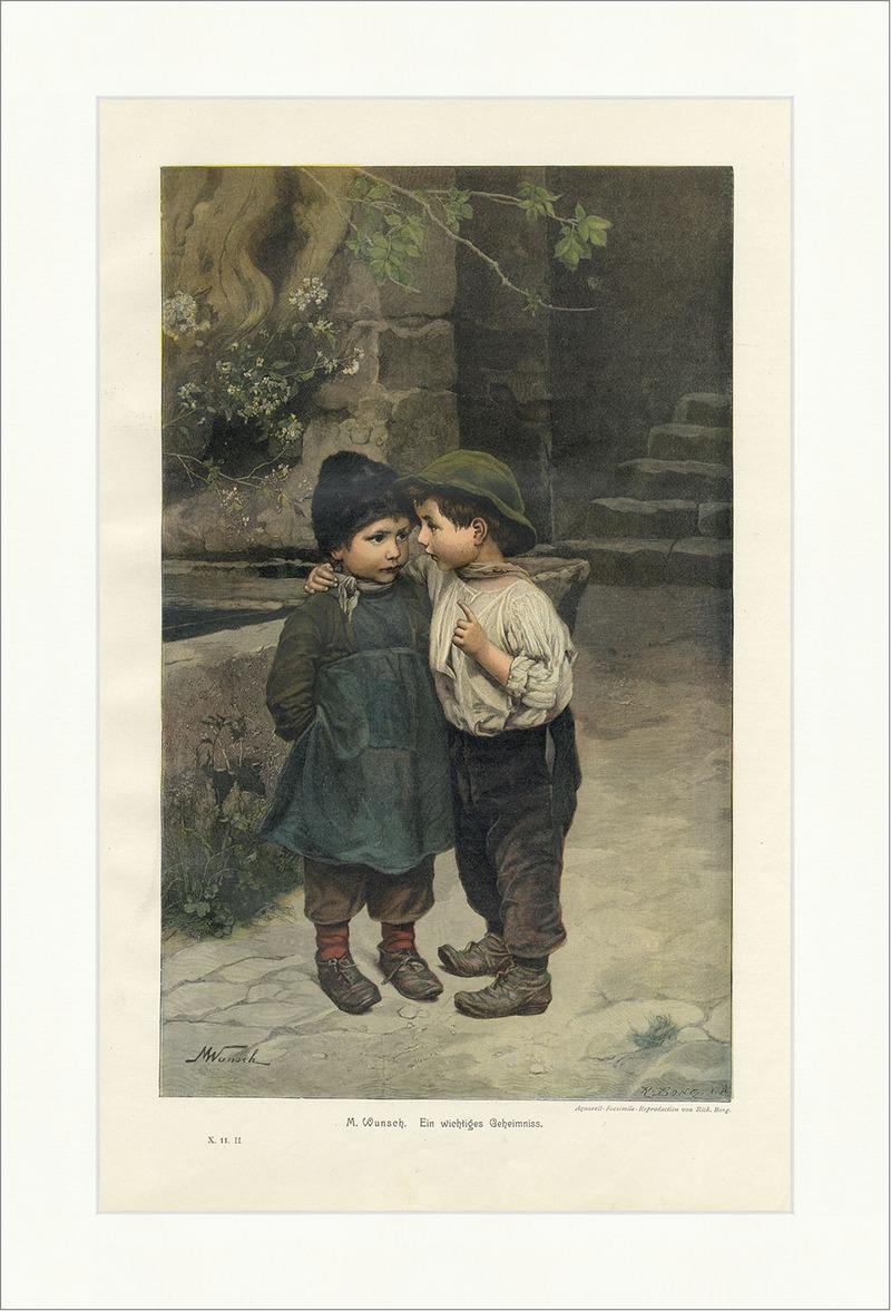 Ein wichtiges Geheimnis M. Wunsch Kinder Brunnen coloriert Holzstich ...