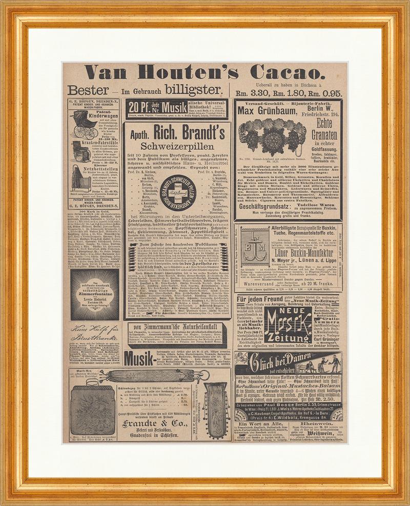 Van Houtens Cacao Schweizerpillen Werbung Reklame Granaten Holzstich ...