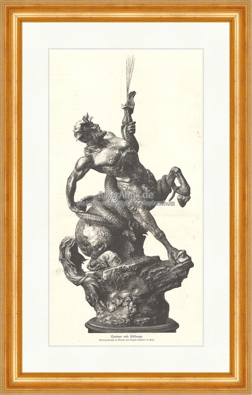 Centaur und Schlange Griechenland August Sommer Mythologie Holzstich ...