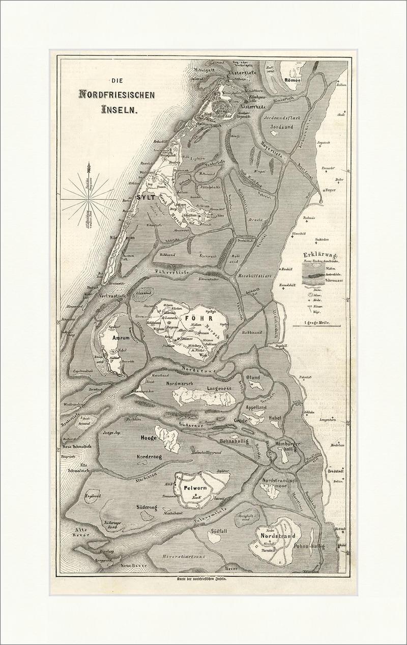 Nordfriesische Inseln Karte.Karte Der Nordfriesischen Inseln Fohr Sylt Nordsee Amrum