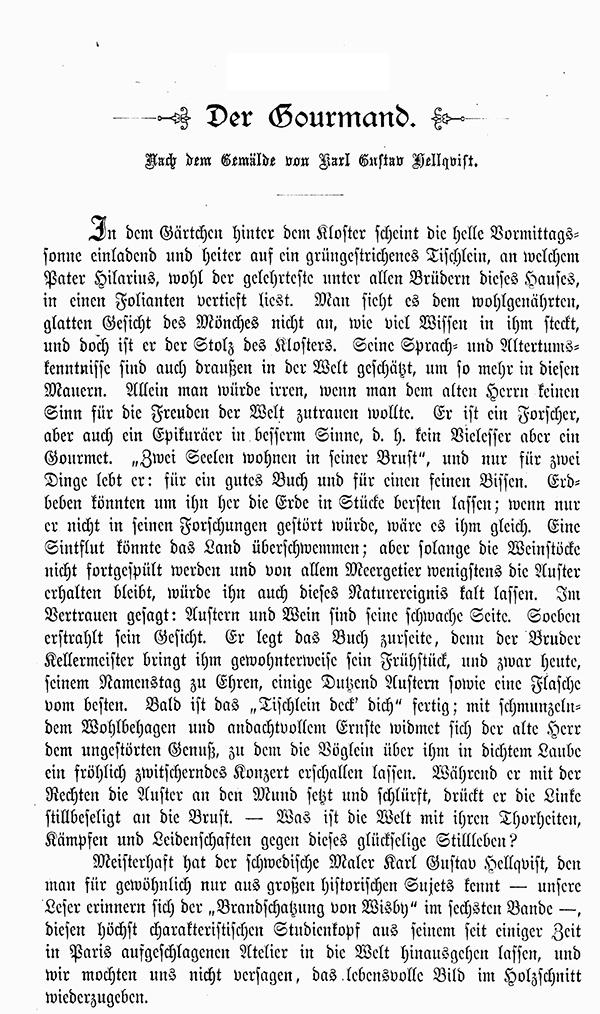 Der Gourmand Karl Gustav Hellqvist Weinflasche Mönch Kutte Mahl Faksimile/_A 0891