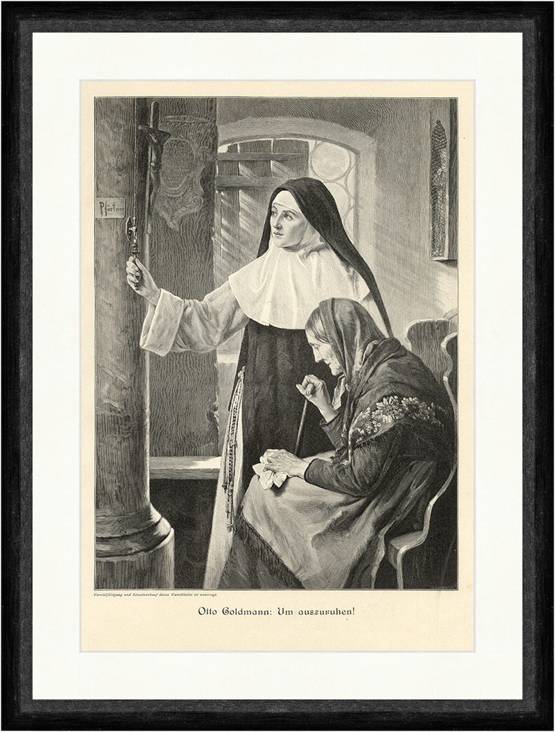 Um auszuruhen Nonne alte Frau Pforte Kirche Bank Holzstich A 1273 Otto Goldmann
