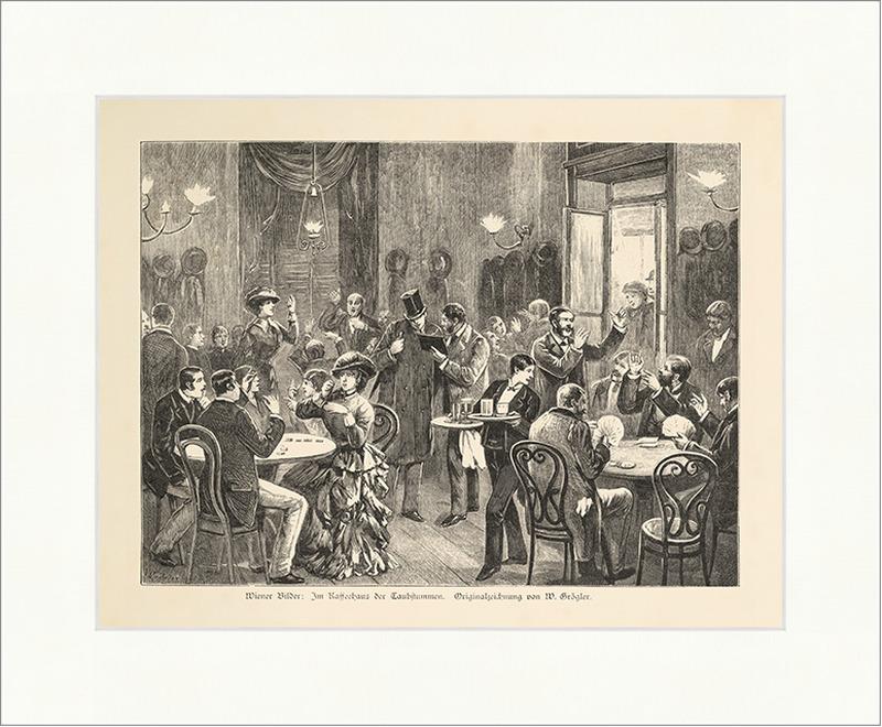 Wiener Bilder Im Kaffeehaus der Taubstummen Grögler Gebärden Holzstich E 14174