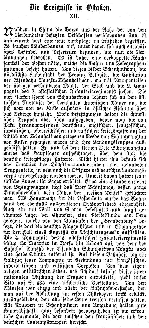 Holzstich E 15894 Der Bahnhof Tangho von deutschen Truppen besetzt Indien Russ