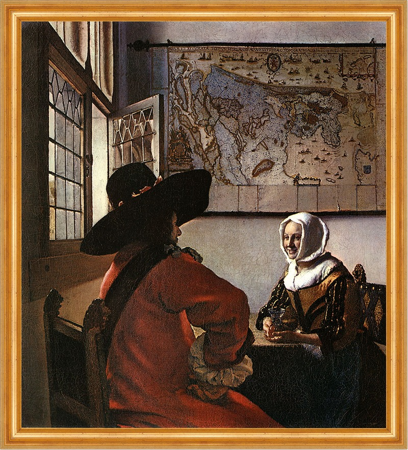 Jan Vermeer-Das Mädchen mit dem Perlenohrring-34x30 Ölgemälde handgemalt Rahmen