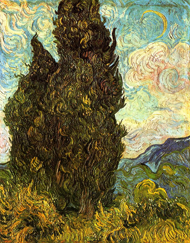 Zypressen Vincent van Gogh flammender Himmel Aufruhr Verzweiflung H ...