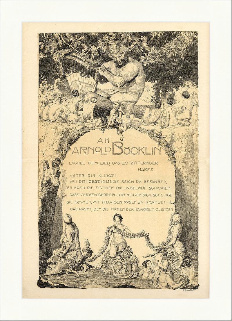 Arnold Böcklin Harfe Kränze Frauen Akt Jugendstil Faun Ewigkeit Jugend 2213