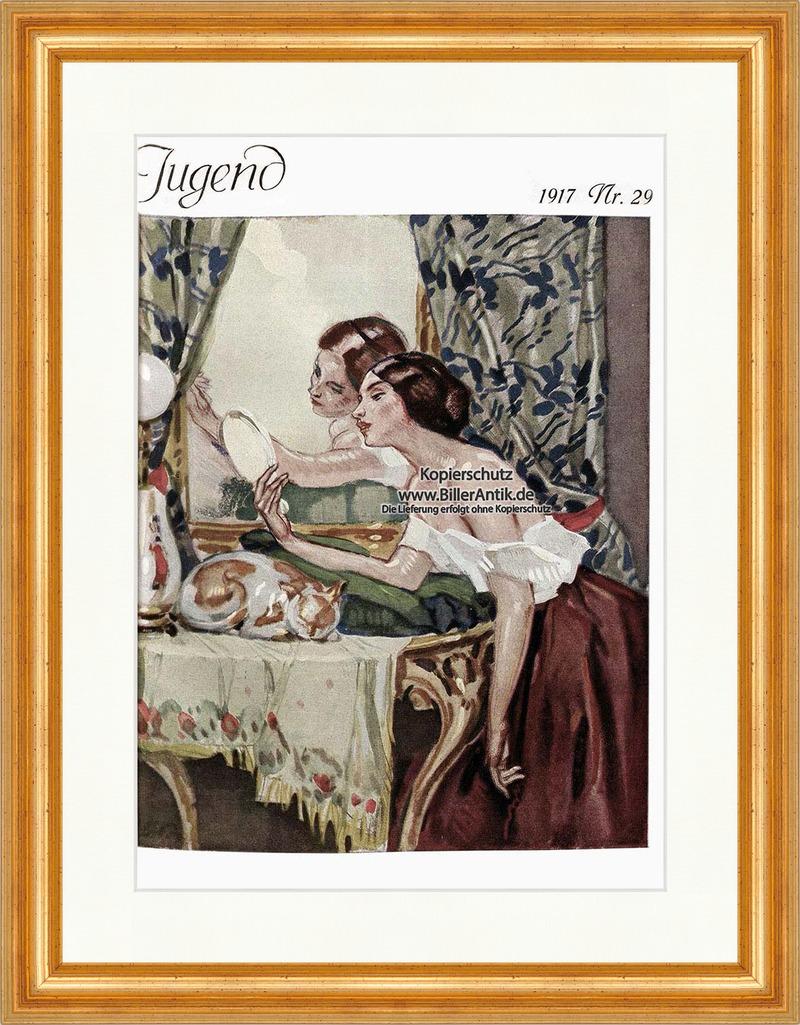 Titelseite der Nummer 29 von 1917 Leo Putz Frau Spiegel Schönheit ...