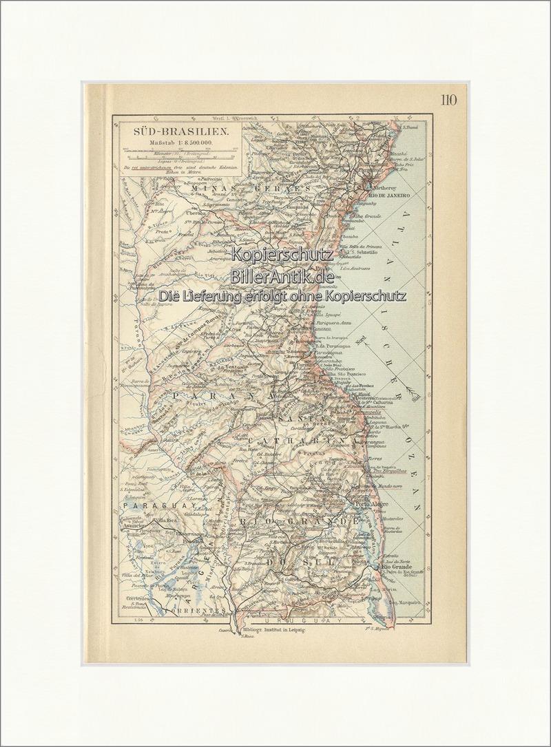 Karte von Südbrasilien Südamerika Grenze Santa Catharina Minas ...