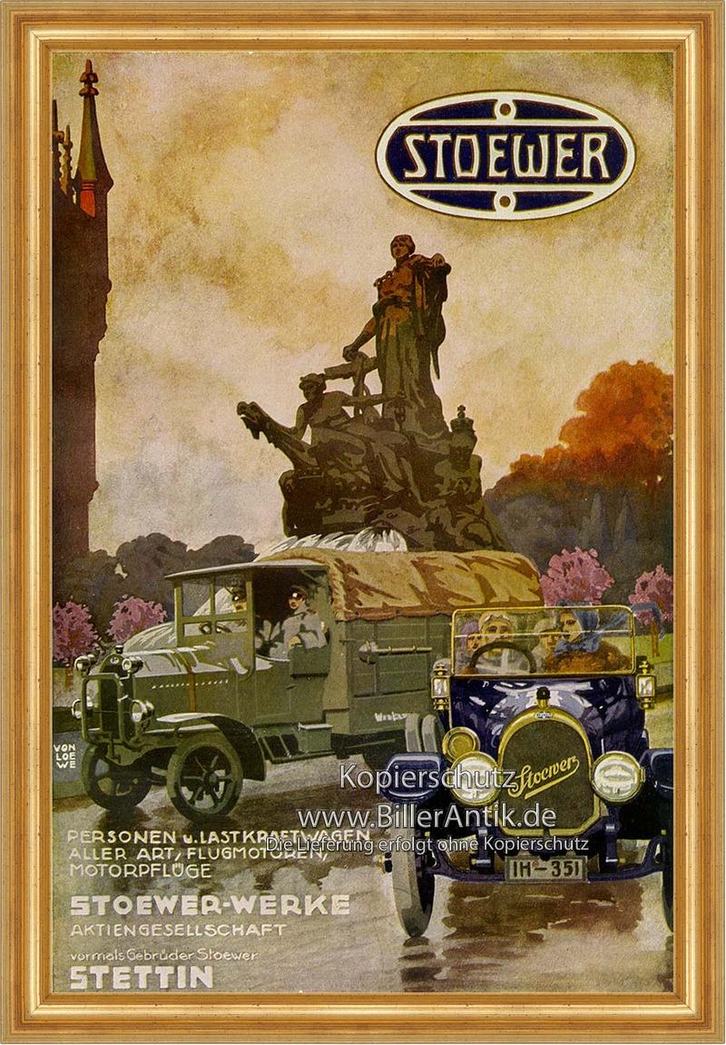 Stoewer Motorfahrzeuge Stettin Ernst Neumann Plakat Braunbeck Faks/_Motor 544