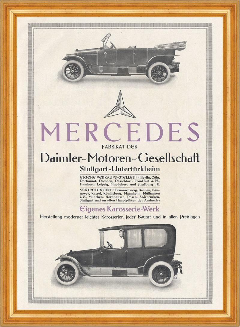 Daimler Motoren Gesellschaft Mercedes Stuttgart Plakat Braunbeck ...