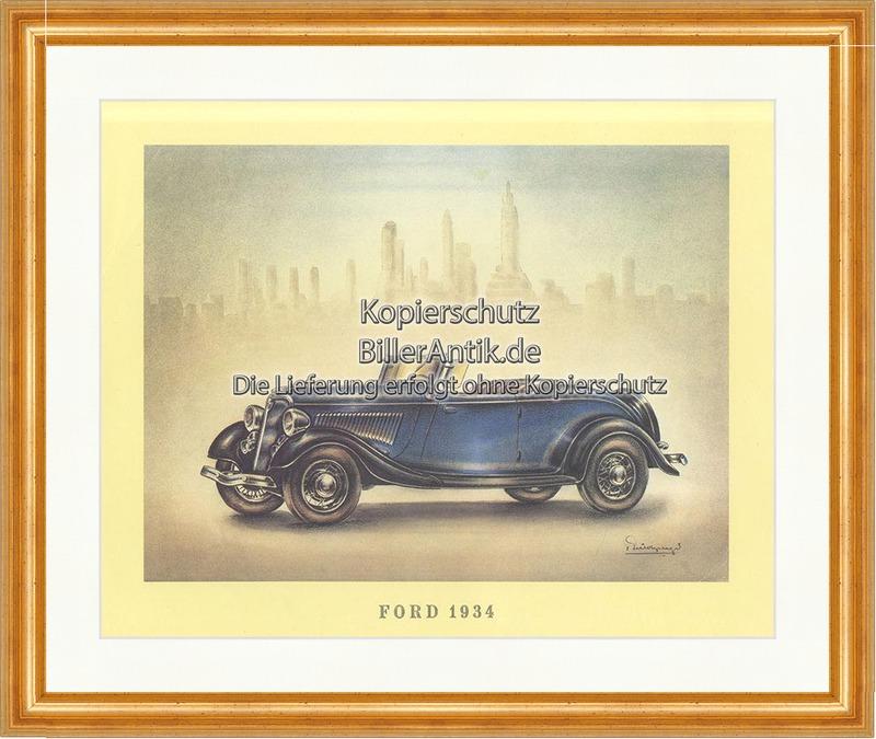 Ford 1934 Cabriolet Blau Spiegel USA Henry Ford Scheibe Bremse Sitze ...