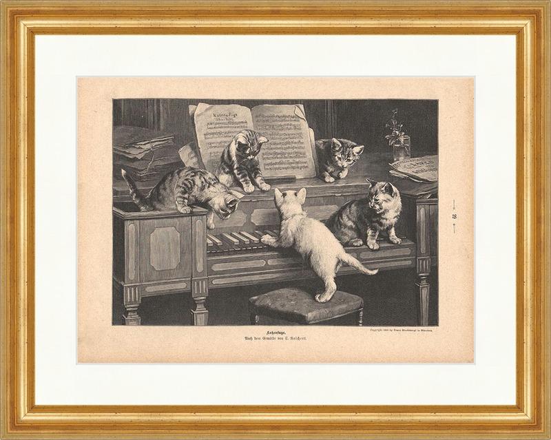 Katzenfuge Holzstich von S Reichert Klavier Katze Musik Noten mit Pfoten P 0068