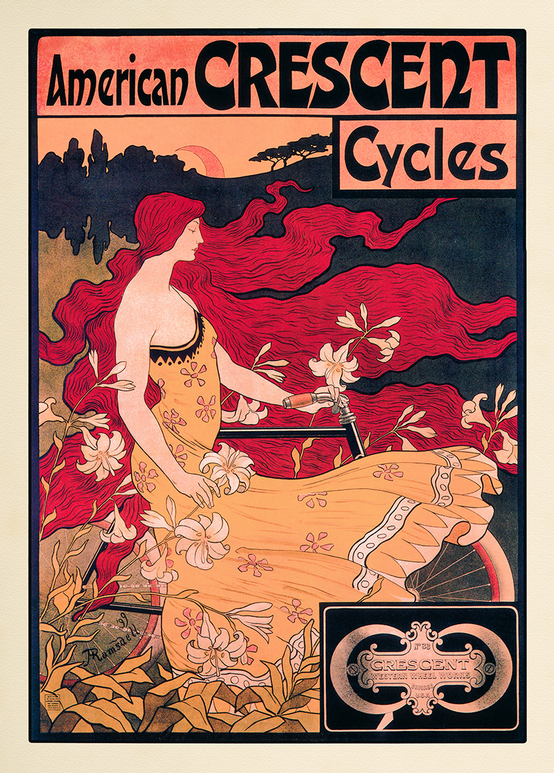 American Crescent Cycles Fahrrad Jugendstil Ramsdell Rote Haare ...