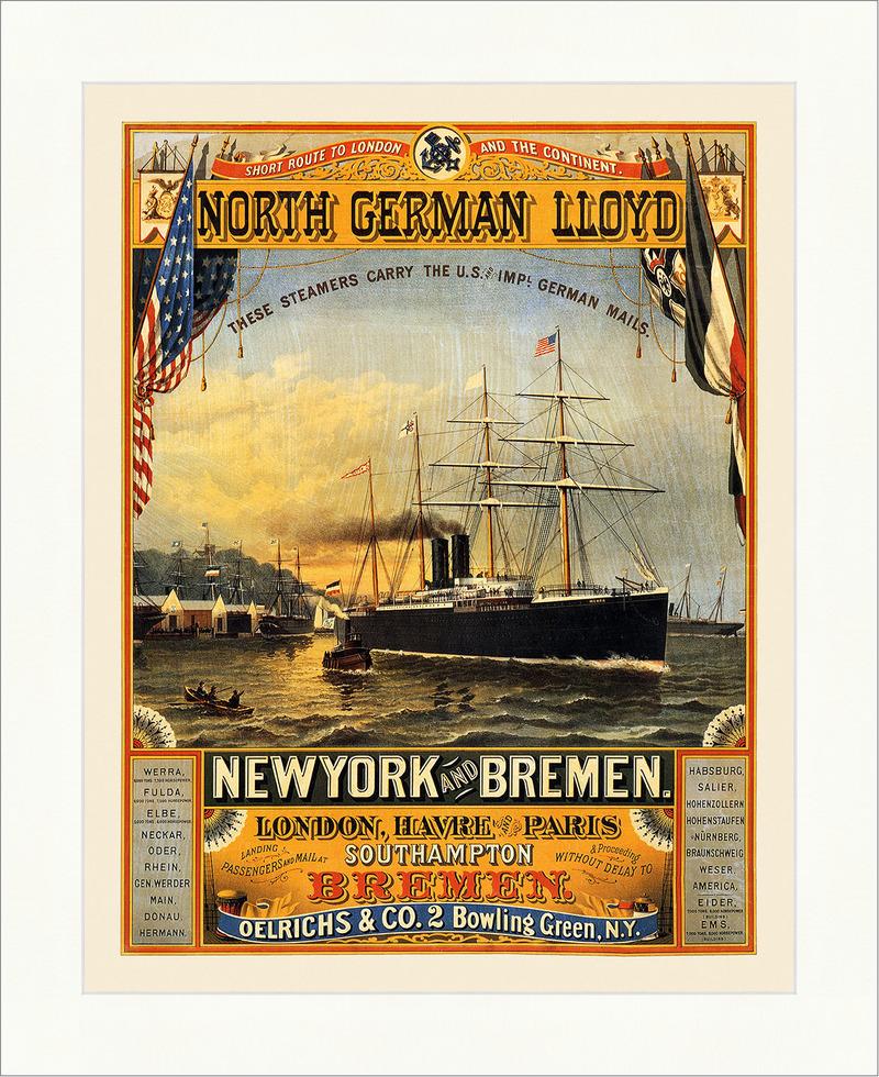 North German Lloyd New York Bremen Southampton Werra Kunstdruck ...