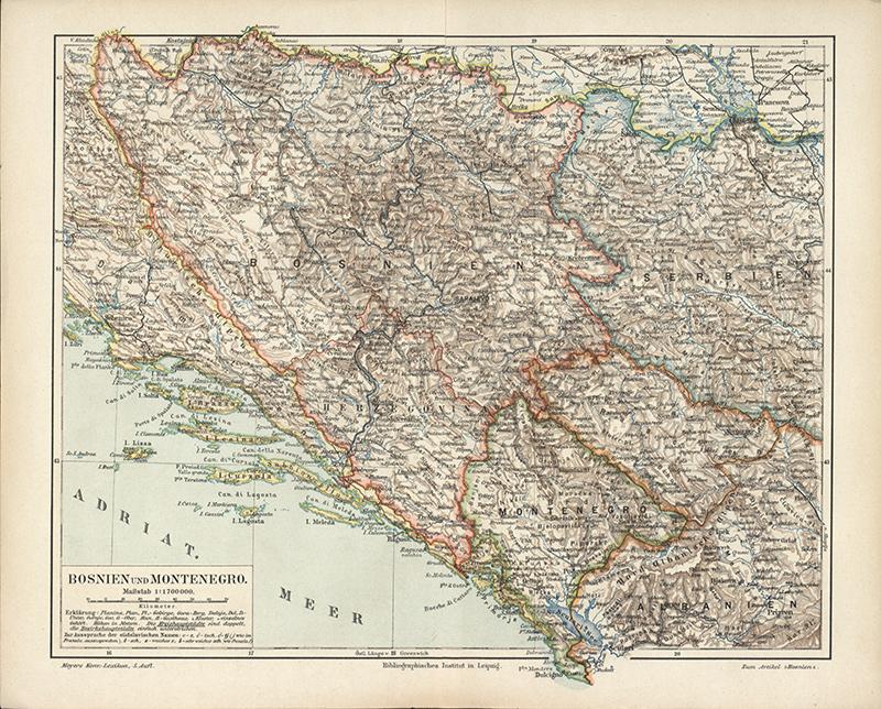 Landkarte Von Bosnien Und Montenegro Sarajevo Podgorica Albanien