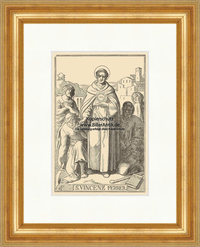 Der heilige Vincenz Ferrer Vinzenz Holzarbeiter St. Holzstich Sankt ...