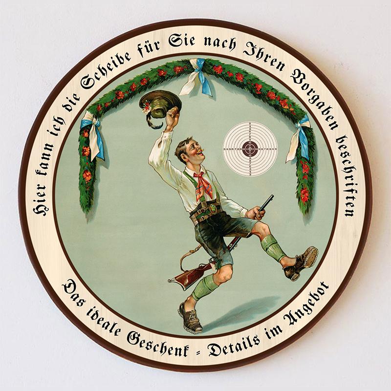 Des Jägers Freud Bundhose Blumen Bayern Tuch Schützenscheibe 41cm Wunschtext 157