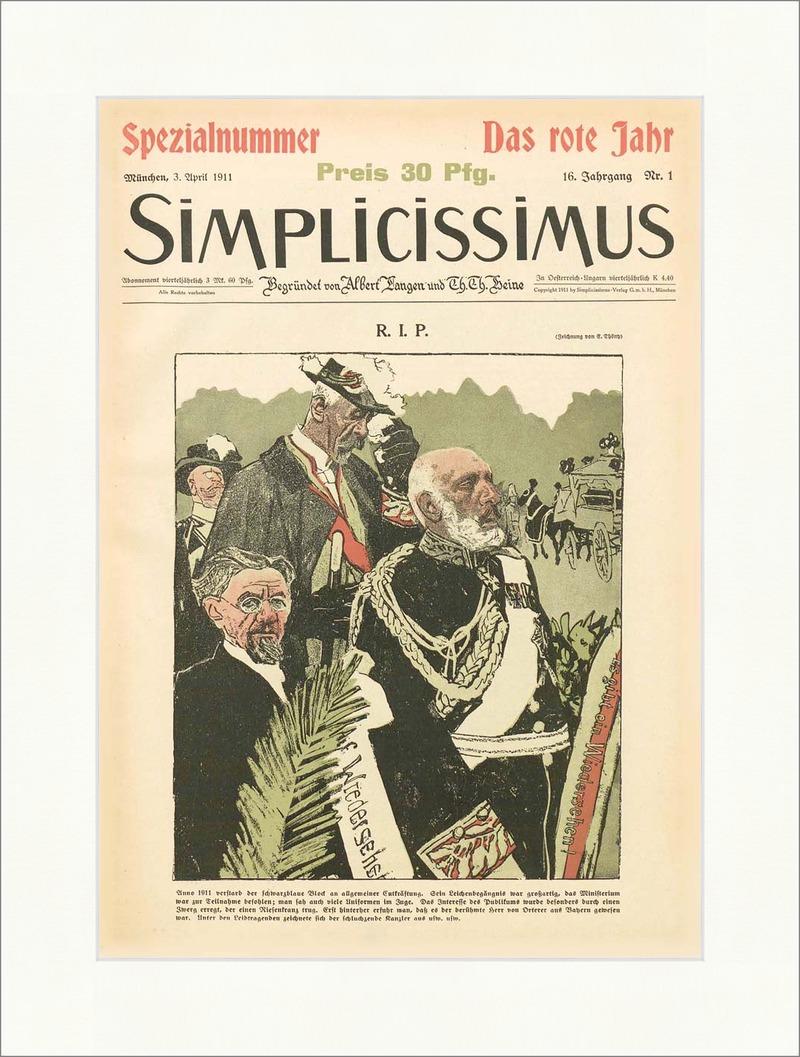 Titelseite der Nummer 1 von 1911 Eduard Thöny R. I. P Simplicissimus ...