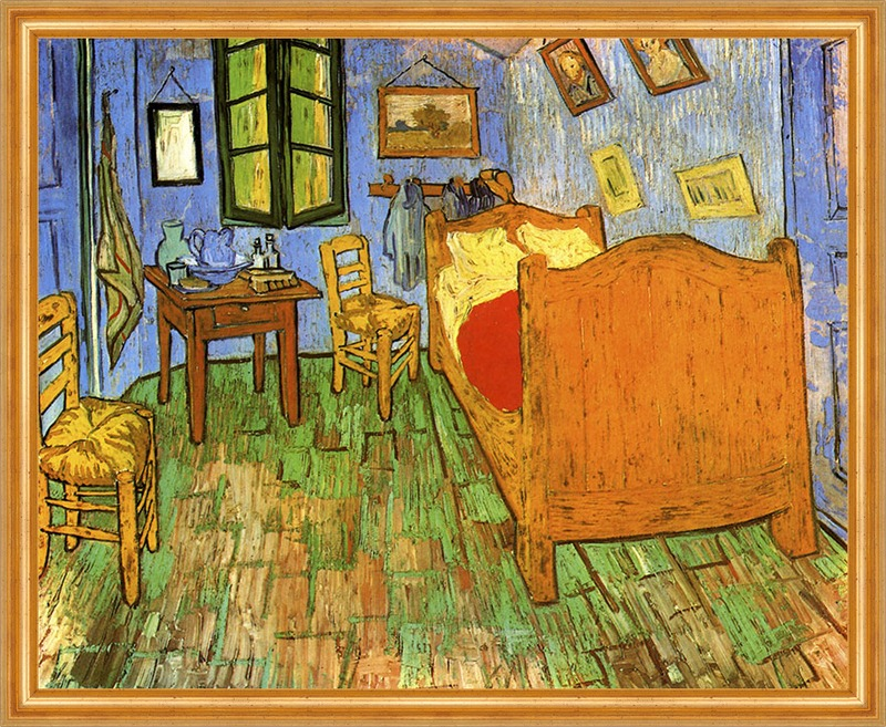 van goghs schlafzimmer in arles bett stuhl tisch lw vincent van gogh a2 065 billerantik. Black Bedroom Furniture Sets. Home Design Ideas