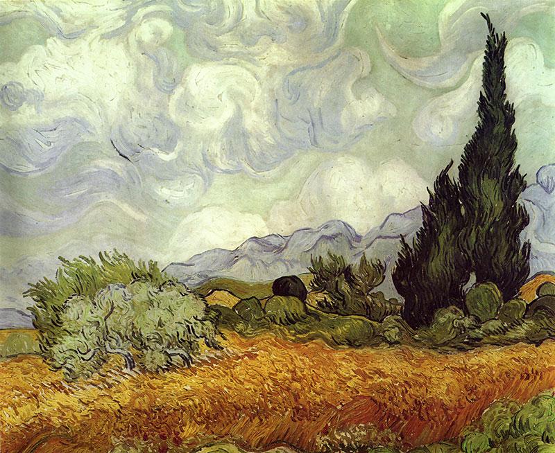 Kornfeld mit Zypressen Impressionismus Wolken Bütten Vincent van ...
