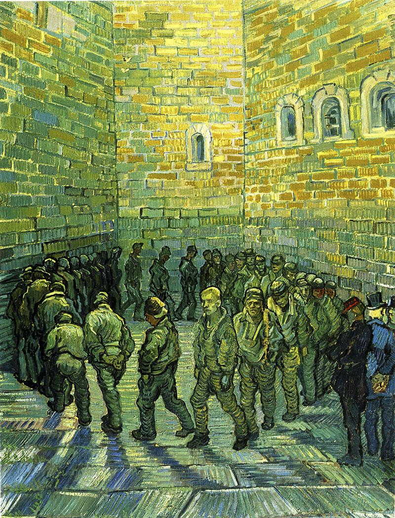 Rundgang der Gefangenen Gefängnis Mauern Häftling Bütten Vincent van ...